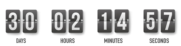 Realistic flip countdown clock counter timer. flat count down day. Premium Vector
