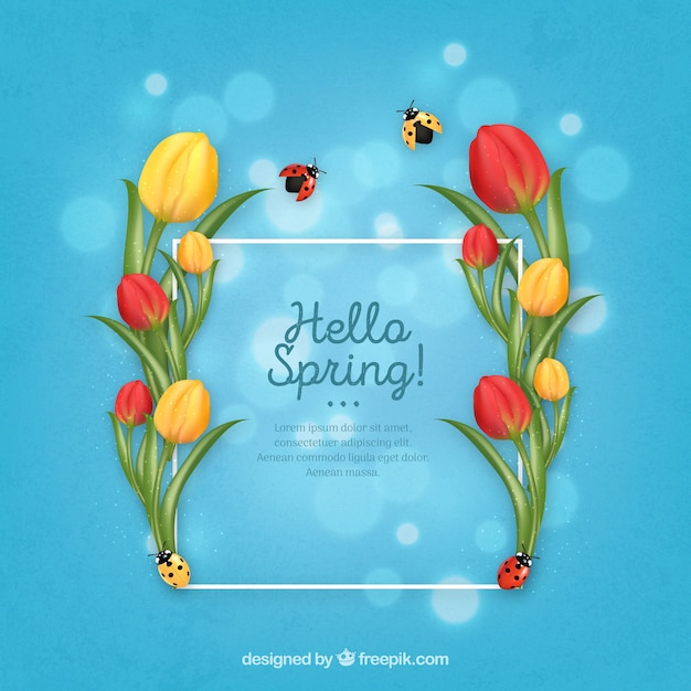 Realistic floral frame hello spring Free Vector