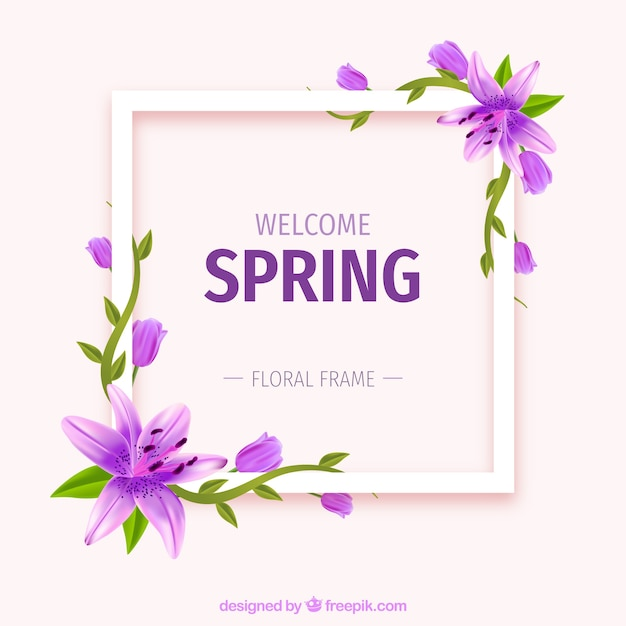 Realistic floral frame welcome spring Free Vector