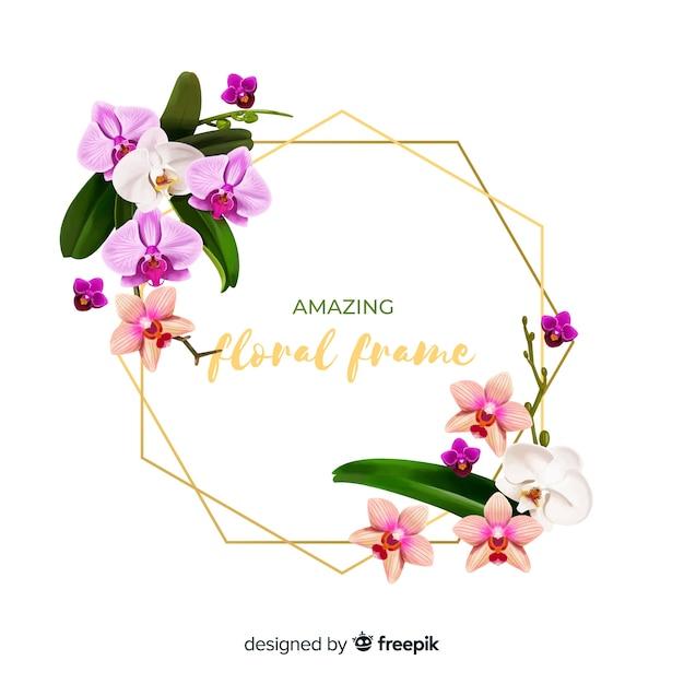 リアルな花のフレーム Premiumベクター