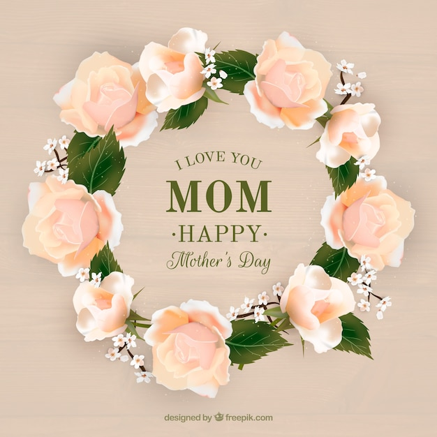 Realistic floral wreath for mother's day Free Vector