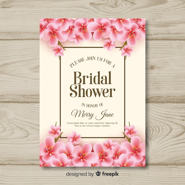 Realistic flowers bridal shower card template Free Vector