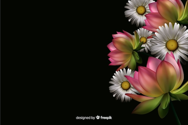 Realistic flowers on a dark background Free Vector