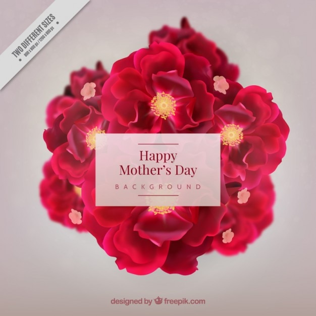 Realistic flowers mother\'s day\ background