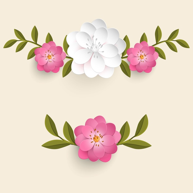 Realistic flowers with leaves set Free Vector