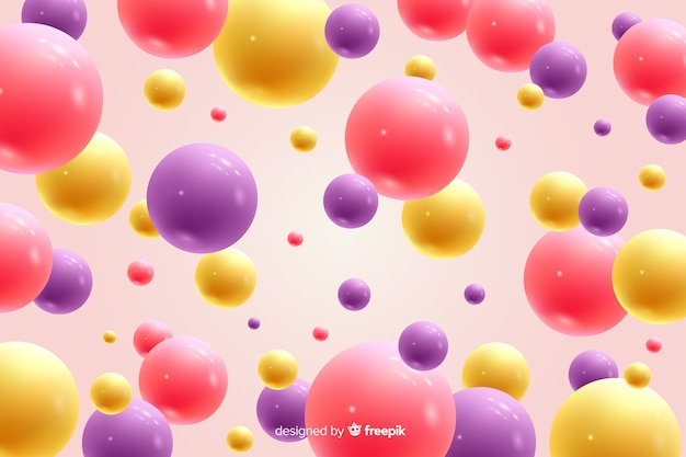 Realistic flowing glossy balls background closeup Free Vector