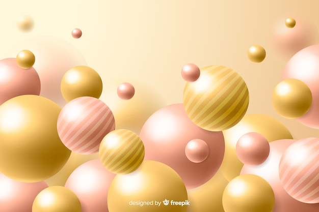 Realistic flowing glossy balls background Free Vector