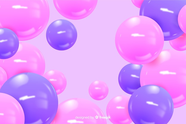 Realistic flowing glossy spheres background Free Vector