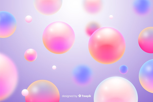 Realistic flowing pink balls background Free Vector