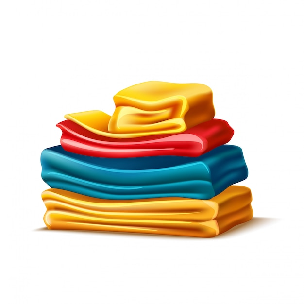 Realistic folded apparel or towel pile Premium Vector