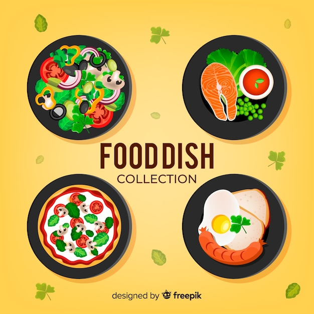 Realistic food dish collection Free Vector