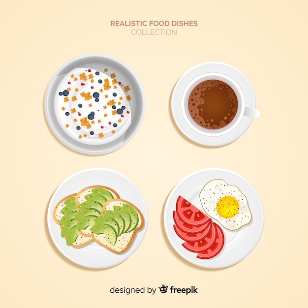 Realistic food dishes collection Free Vector