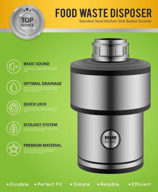 緑の台所の流しの広告ポスターのためのステンレス鋼の現実的な生ごみ処理機 無料ベクター