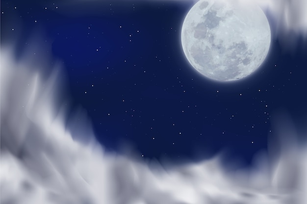Realistic fool moon background Free Vector