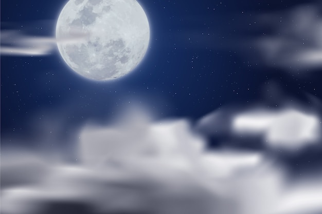 Realistic fool moon wallpaper Free Vector