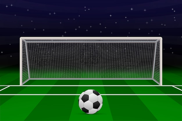 Realistic football goal on soccer field. Premium Vector