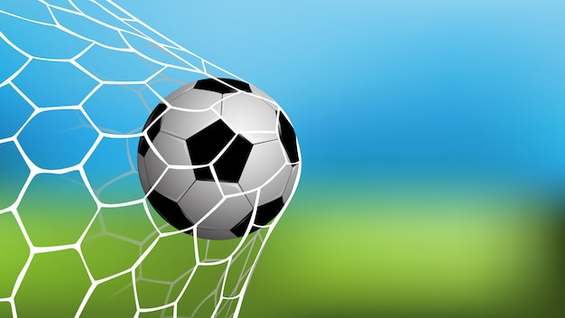 Realistic football in net with copy space for text Premium Vector