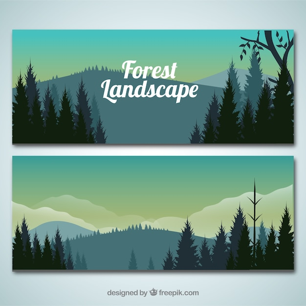 Realistic forest landscape banners