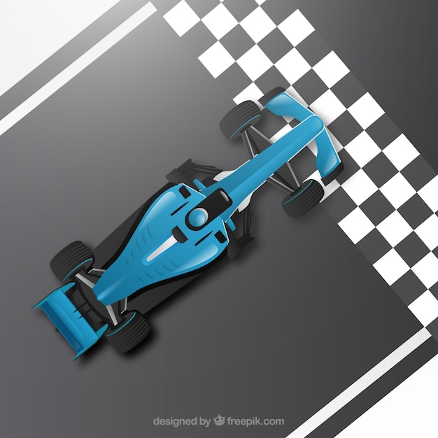 Realistic formula 1 racing car at finish line Free Vector