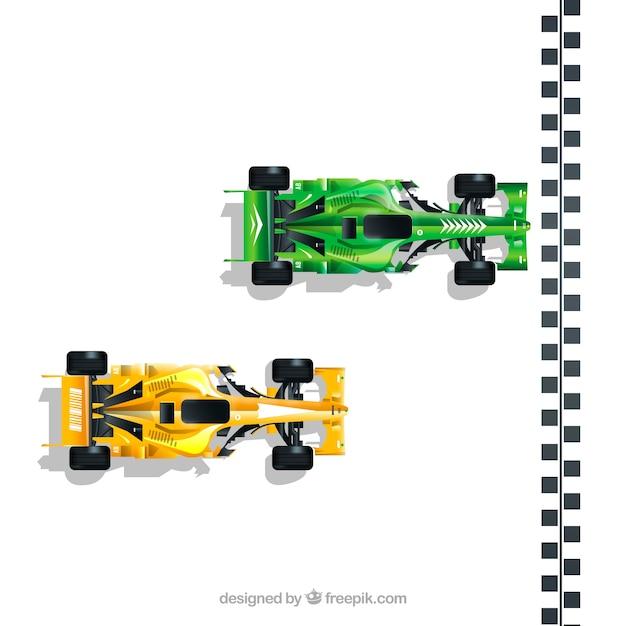 Realistic formula 1 racing car at finish line Free Vector