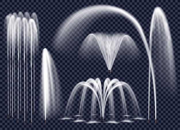 Realistic fountains on transparent background set Free Vector