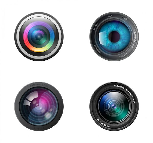 Realistic four camera lenses icon Premium Vector