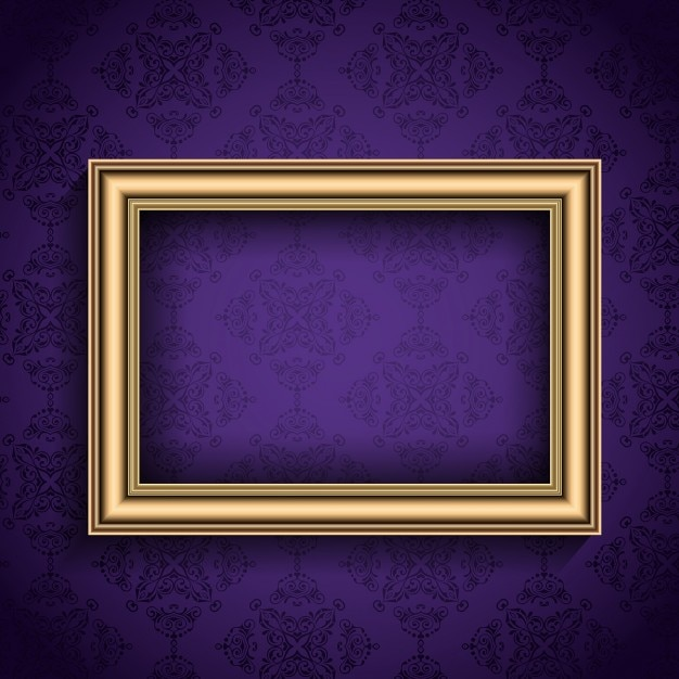 Realistic frame on a purple background Free Vector
