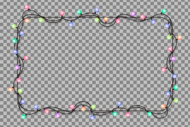 Realistic frame with christmas lights Free Vector