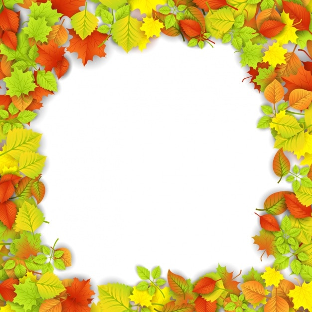 Realistic frame with leaves Free Vector