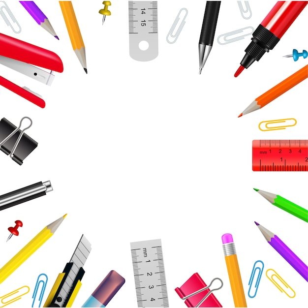 Realistic frame with various stationery objects on white background vector illustration Free Vector