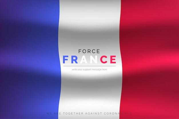 Bandiera francese realistica con messaggio di supporto Vettore gratuito