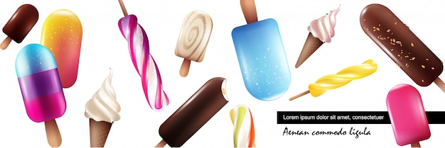 Realistic fresh ice cream collection with bright colorful icecreams of different sorts on white background Free Vector
