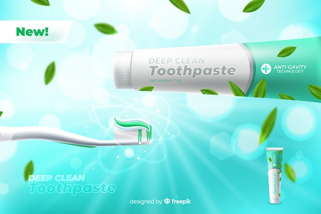 Realistic fresh toothpaste poster ad Free Vector