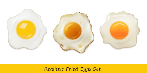 Realistic fried eggs set Premium Vector