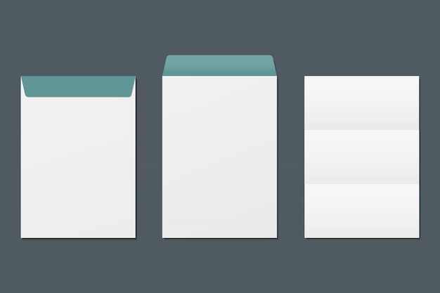 Realistic front and back envelope and blank paper. mockup template.  template for business and branding identity. Premium Vector