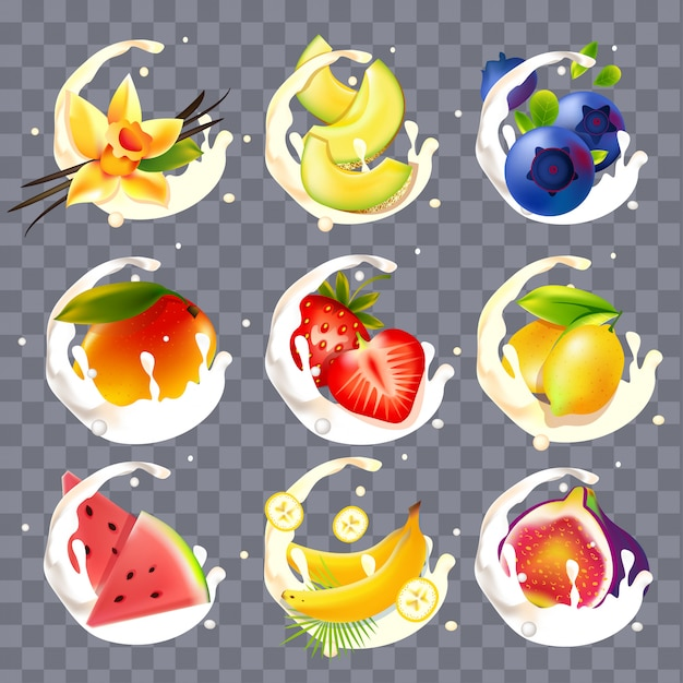 Realistic fruit, beries with milk and yogurt splashes Premium Vector