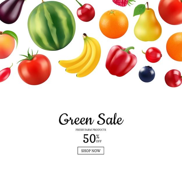 Реалистичные фрукты и ягоды баннер с местом для иллюстрации текста Premium векторы