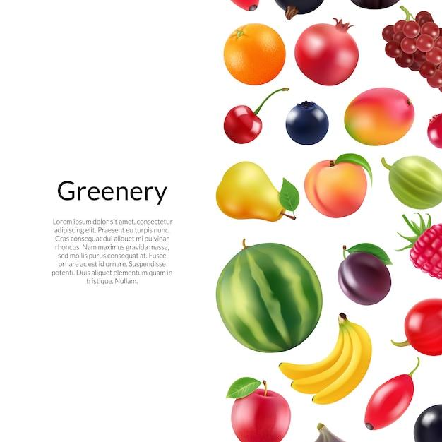 Реалистичные фрукты и ягоды с copyspace иллюстрации Premium векторы
