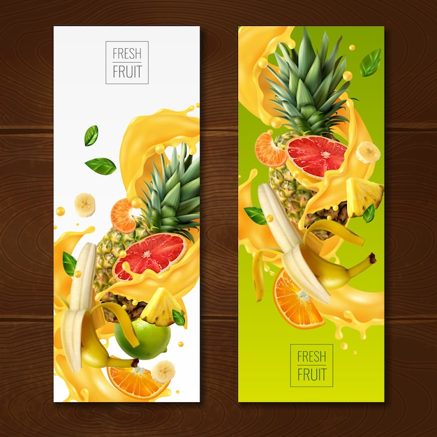 Realistic fruits juice banners collection with compositions of fruit slices and leaves on gradient Free Vector