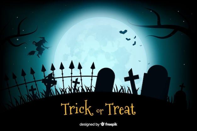Realistic full moon and cemetery background Free Vector