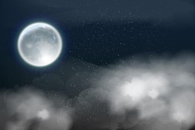 Реалистичная полная луна фон неба концепция Premium векторы