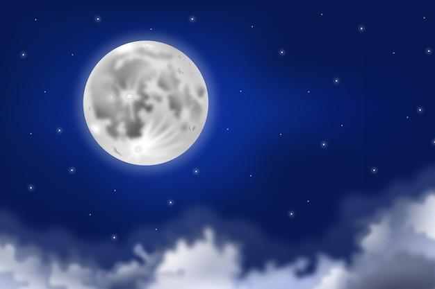 現実的な満月空の背景概念 無料ベクター
