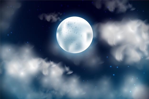 Реалистичная полная луна фон неба Бесплатные векторы