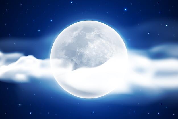 현실적인 보름달 하늘 배경 무료 벡터