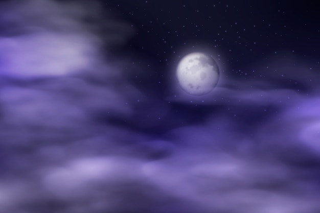 Realistic full moon sky background Free Vector