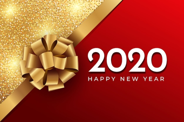 Realistic funny new year background with bow and glitter Free Vector