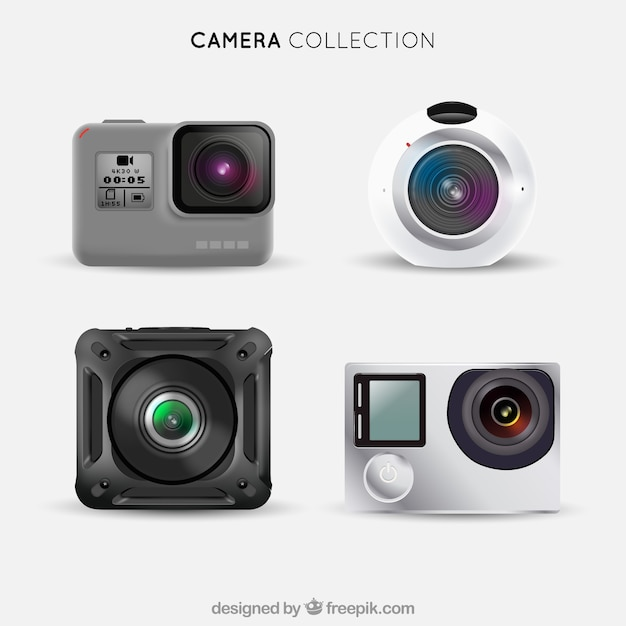 Realistic futuristic cameras collection