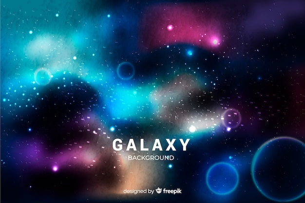 Realistic galaxy background Free Vector