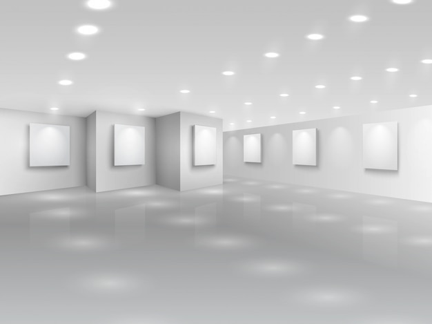 Realistic gallery hall with blank white canvases Free Vector