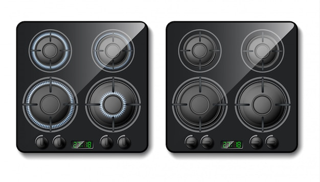 Realistic gas stove. black cooker top with burners with flame, hobs with fire Free Vector